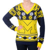 "Michigan Wolverines Women's Official NCAA ""Big Logo"" V-Neck Sweater by Klew"