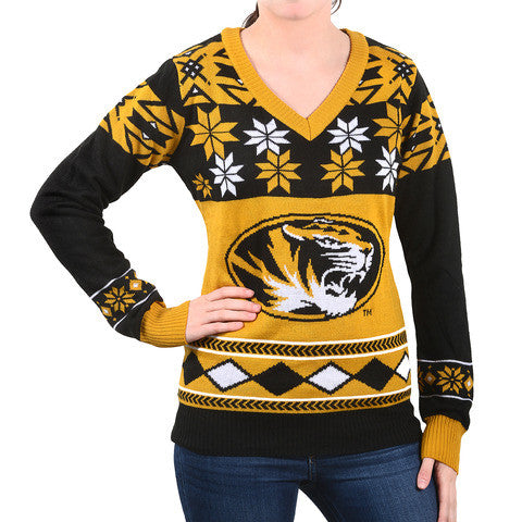 "Missouri Tigers Women's Official NCAA ""Big Logo"" V-Neck Sweater by Klew"