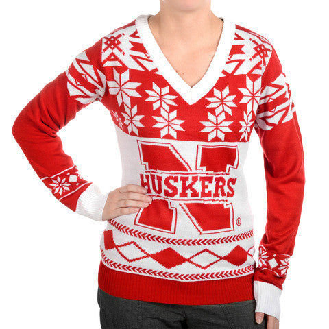 "Nebraska Cornhuskers Women's Official NCAA ""Big Logo"" V-Neck Sweater by Klew"