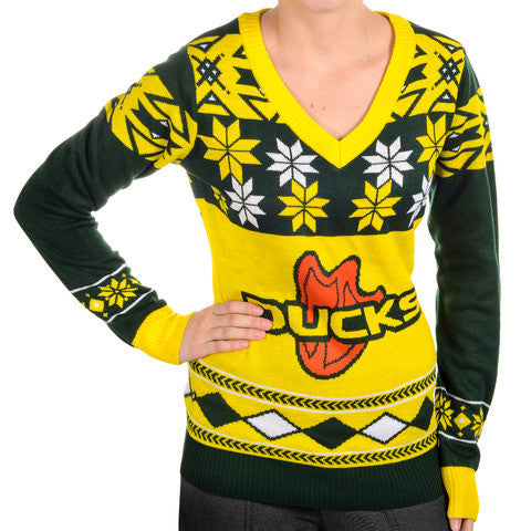 "Oregon Ducks Women's Official NCAA ""Big Logo"" V-Neck Sweater by Klew"