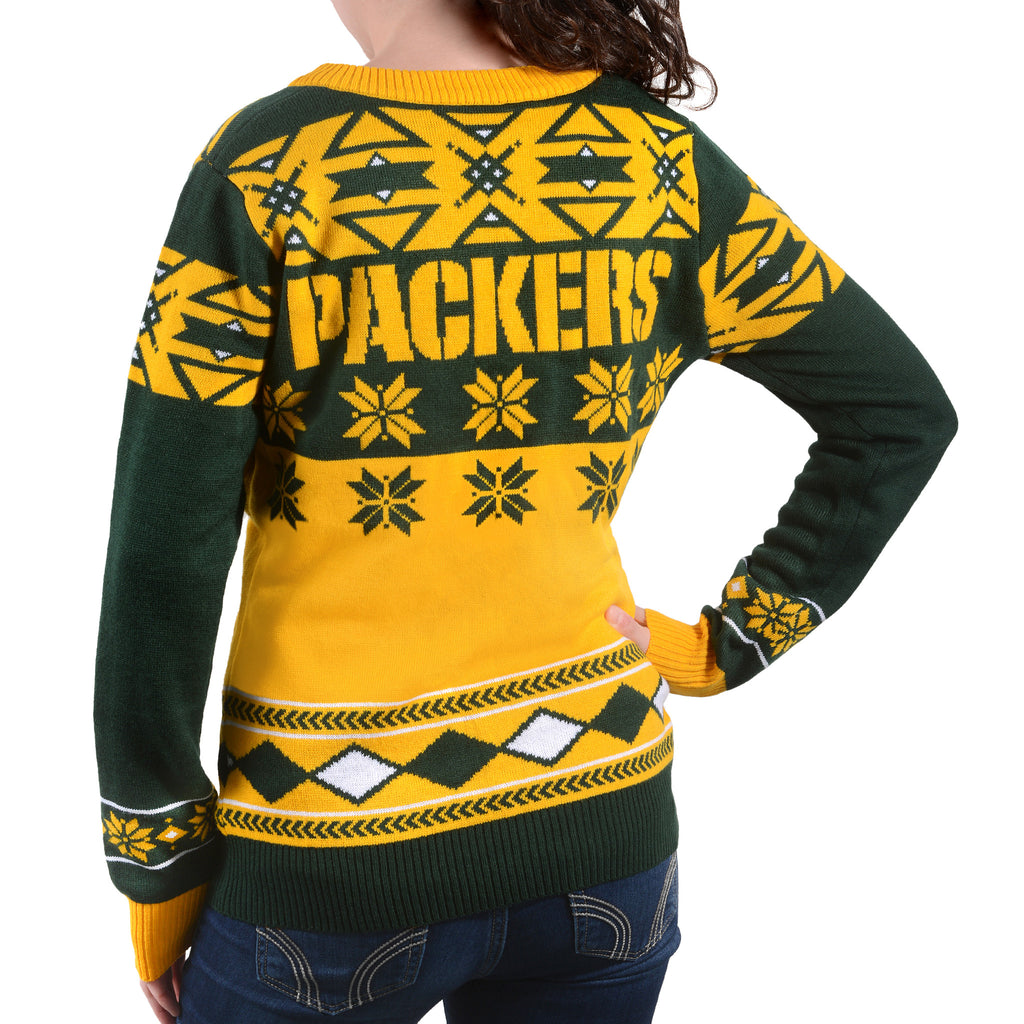 "Green Bay Packers Women's NFL ""Big Logo"" V-Neck Sweater by Klew"