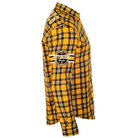 Pittsbugh Pirates Wordmark Long Sleeve Flannel Shirt by Klew