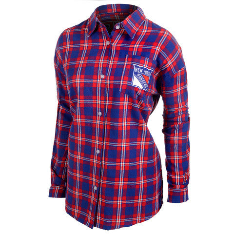 New York Rangers Wordmark Long Sleeve Women's Flannel Shirt by Klew