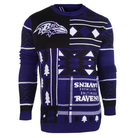 "Baltimore Ravens Official NFL Men's ""Ugly Patches"" Sweater by Klew"