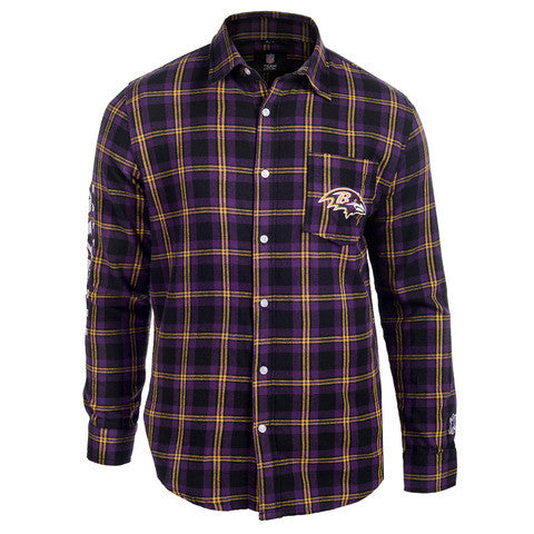 Baltimore Ravens Wordmark Long Sleeve Flannel Shirt by Klew