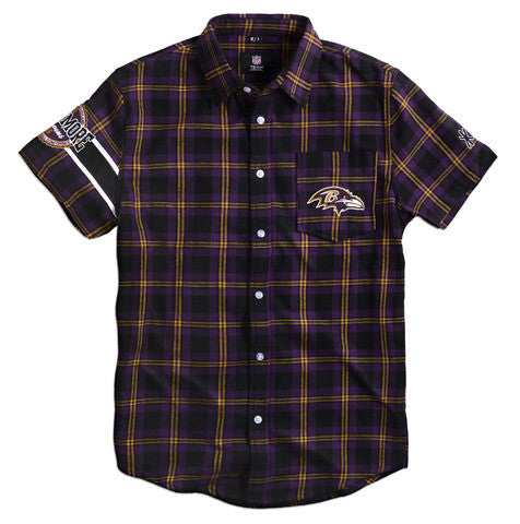 Baltimore Ravens Wordmark Short Sleeve Flannel Shirt by Klew