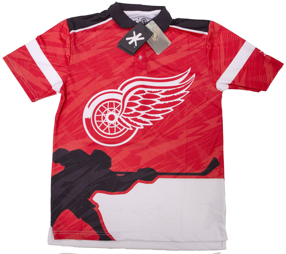 Detroit Red Wings Official NHL Thematic Polyester Polo Shirt