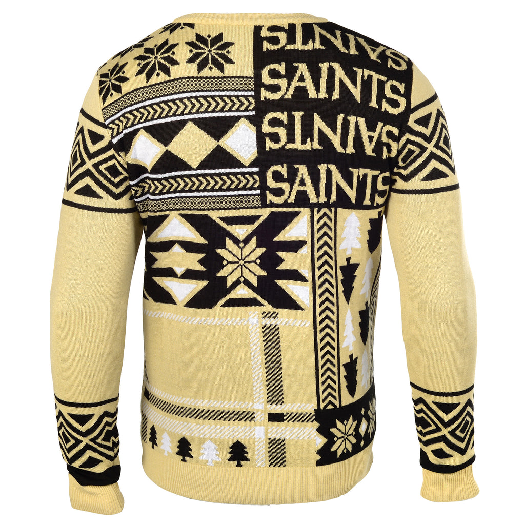 "New Orleans Saints Official Men's NFL ""Ugly Patches"" Sweater by Klew"