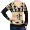 "New Orleans Saints Women's Official NFL ""Big Logo"" V-Neck Sweater by Klew"