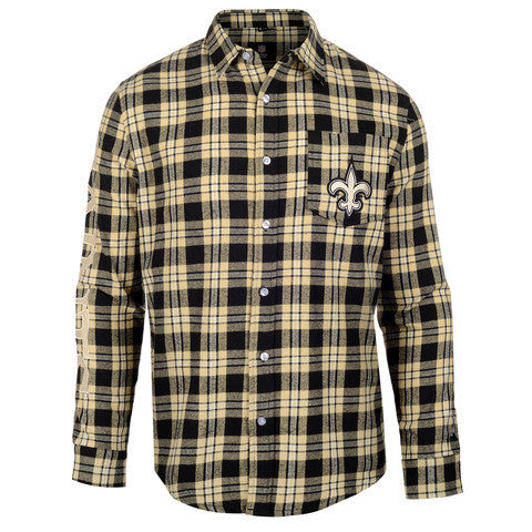 New Orleans Saints Wordmark Long Sleeve Flannel Shirt by Klew