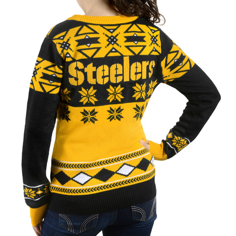 "Pittsburgh Steelers Women's Official NFL ""Big Logo"" V-Neck Sweater by Klew"