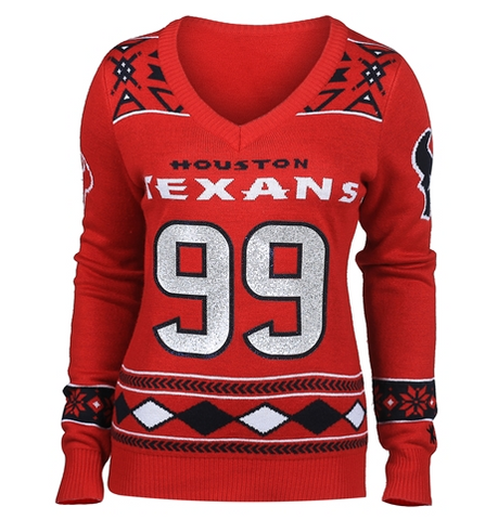 Houston Texans Watt J. #99  Official NFL Womens Glitter V-Neck Sweater