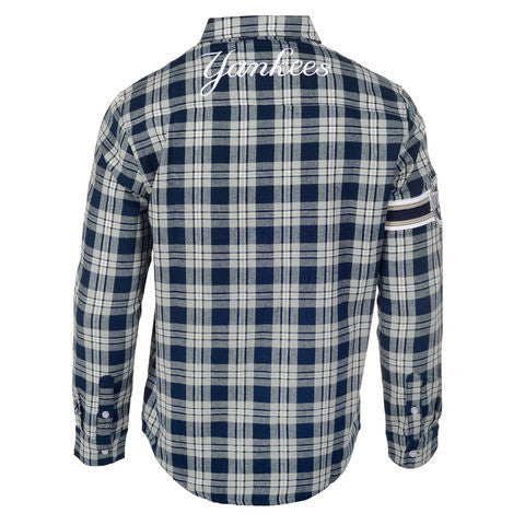New York Yankees Wordmark Long Sleeve Flannel Shirt by Klew
