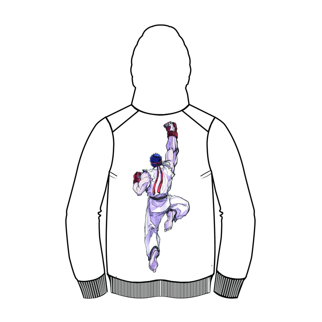RYU (Invincible Shoryuken) White Zip-up Hoodie (by Motoki Yoshihara)