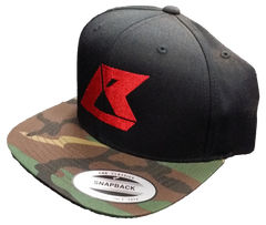 Snapback Red on Black Woodland - IN STOCK, ON SALE