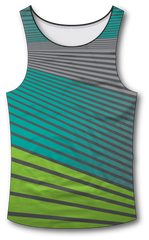 Angle Stripe Green Blue Tank Top - RazaLife - Tech Tank Top - RazaLife - RazaLife - paintball - custom - jerseys - sports - uniforms - woodsball - softball - baseball - basketball - soccer
