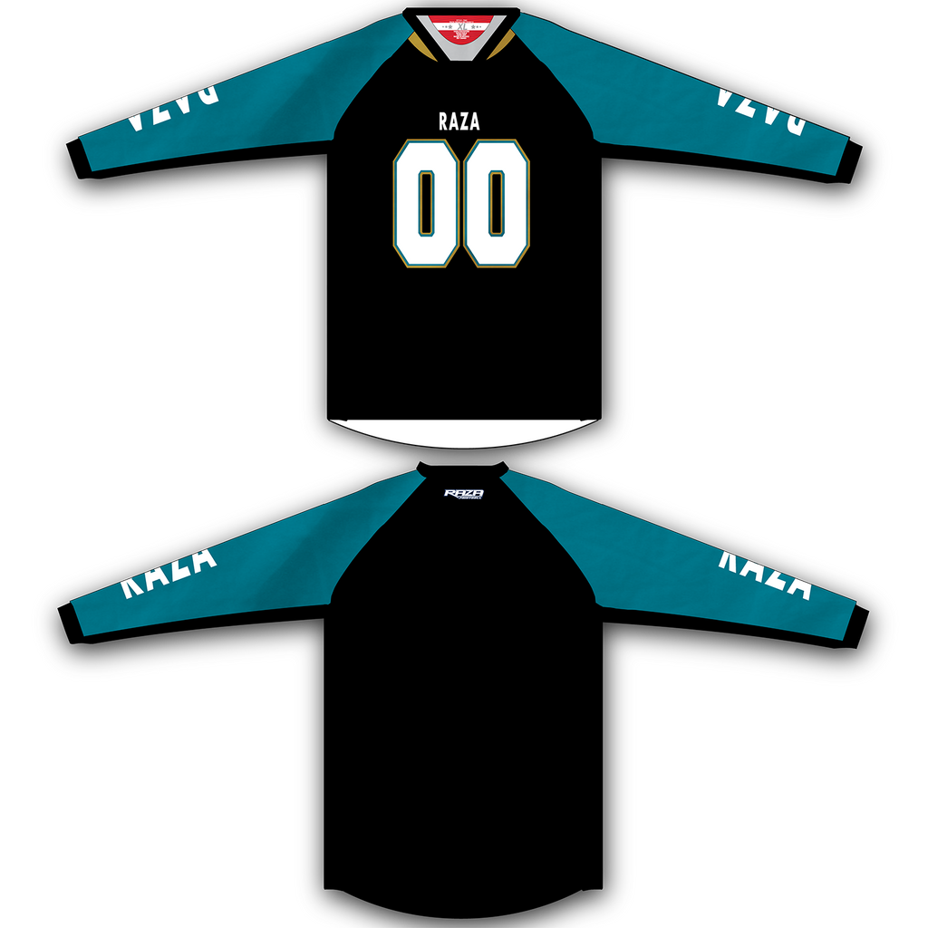 Black Teal Gold TM2 Jersey - RazaLife - TM2 Jersey - RazaLife - RazaLife - paintball - custom - jerseys - sports - uniforms - woodsball - softball - baseball - basketball - soccer