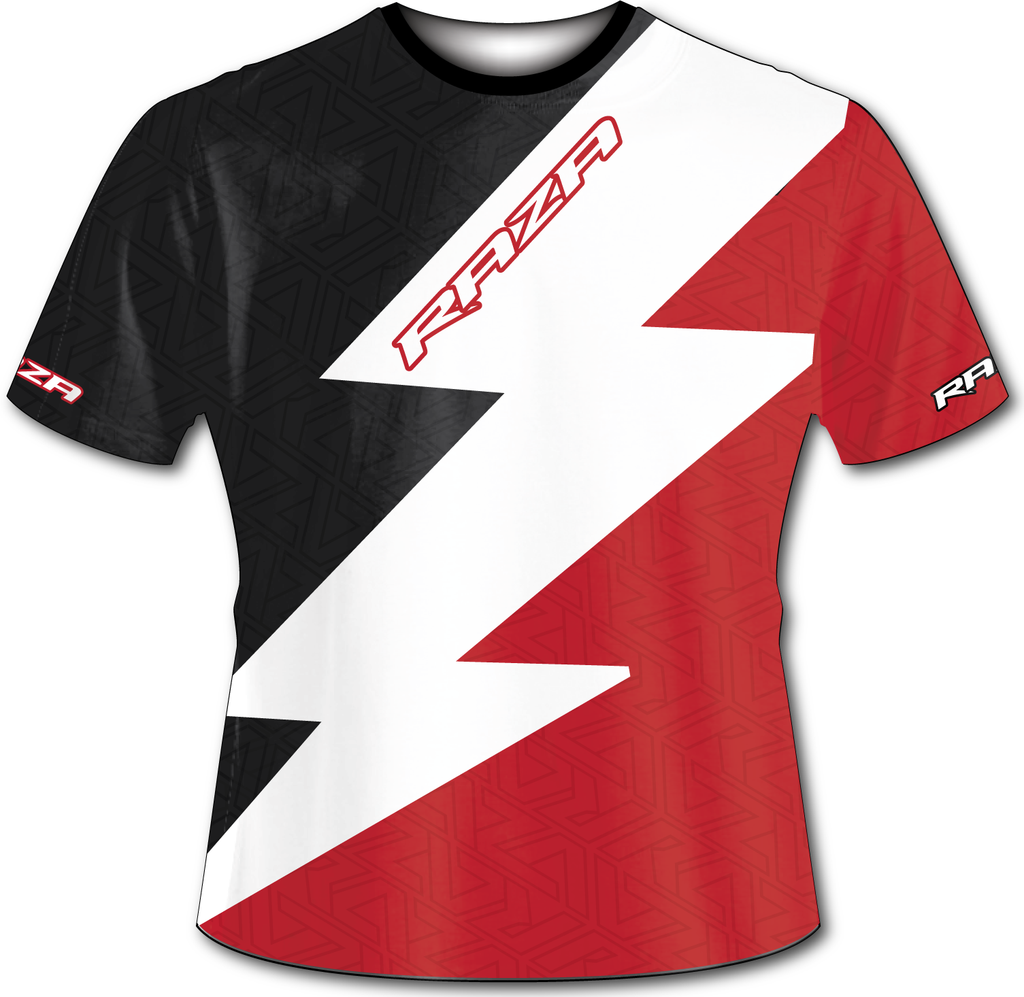 Bolt Black Red Tech Shirt - RazaLife -  - RazaLife - RazaLife - paintball - custom - jerseys - sports - uniforms - woodsball - softball - baseball - basketball - soccer