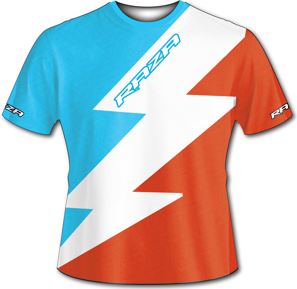 Bolt Cyan White Orange Tech Shirt - RazaLife -  - RazaLife - RazaLife - paintball - custom - jerseys - sports - uniforms - woodsball - softball - baseball - basketball - soccer