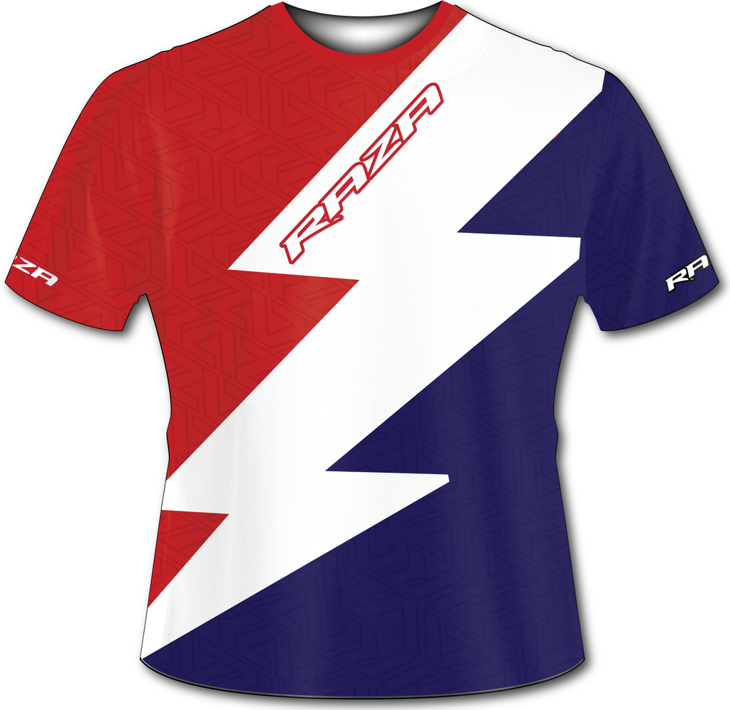 Bolt Red White BlueTech Shirt - RazaLife -  - RazaLife - RazaLife - paintball - custom - jerseys - sports - uniforms - woodsball - softball - baseball - basketball - soccer