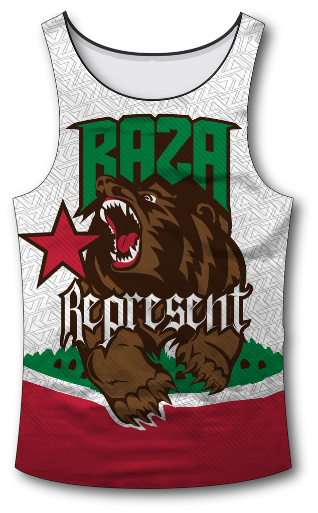 Cali Rep White Tank Top - RazaLife - Tech Tank Top - RazaLife - RazaLife - paintball - custom - jerseys - sports - uniforms - woodsball - softball - baseball - basketball - soccer