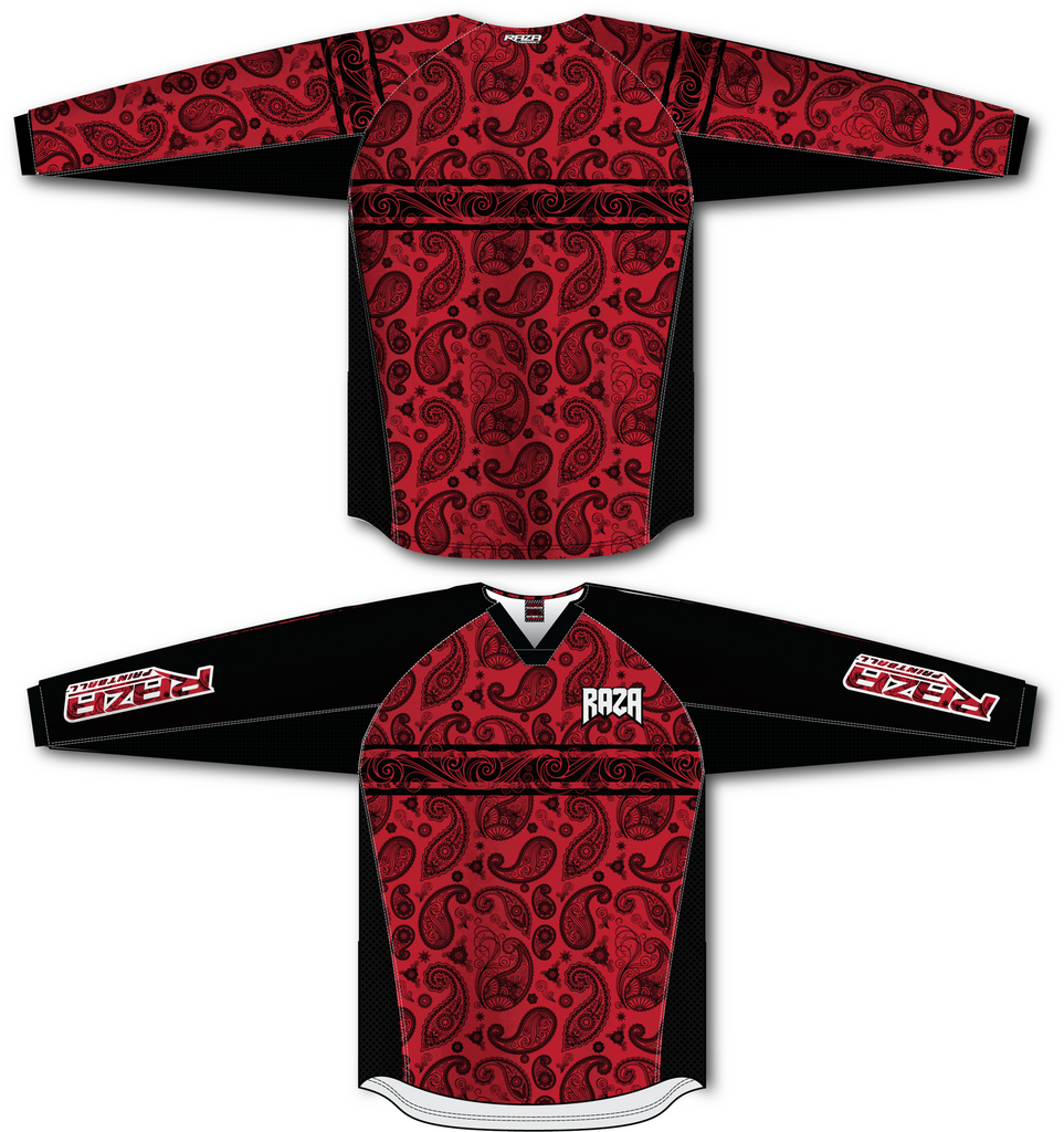 Bandana Red/Black TM2 Jersey - RazaLife - TM2 Jersey - RazaLife - RazaLife - paintball - custom - jerseys - sports - uniforms - woodsball - softball - baseball - basketball - soccer