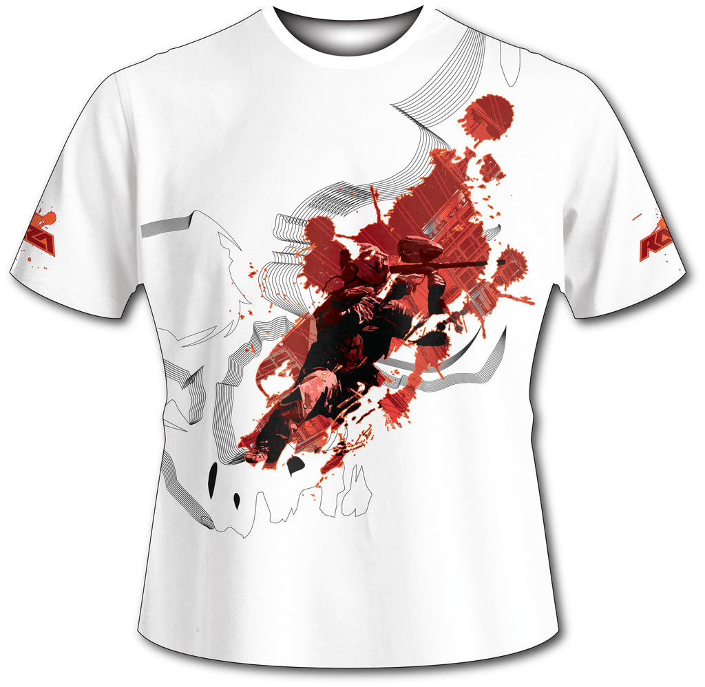 Blast Off White Tech Shirt - RazaLife - Tech Shirt - Razalife - RazaLife - paintball - custom - jerseys - sports - uniforms - woodsball - softball - baseball - basketball - soccer