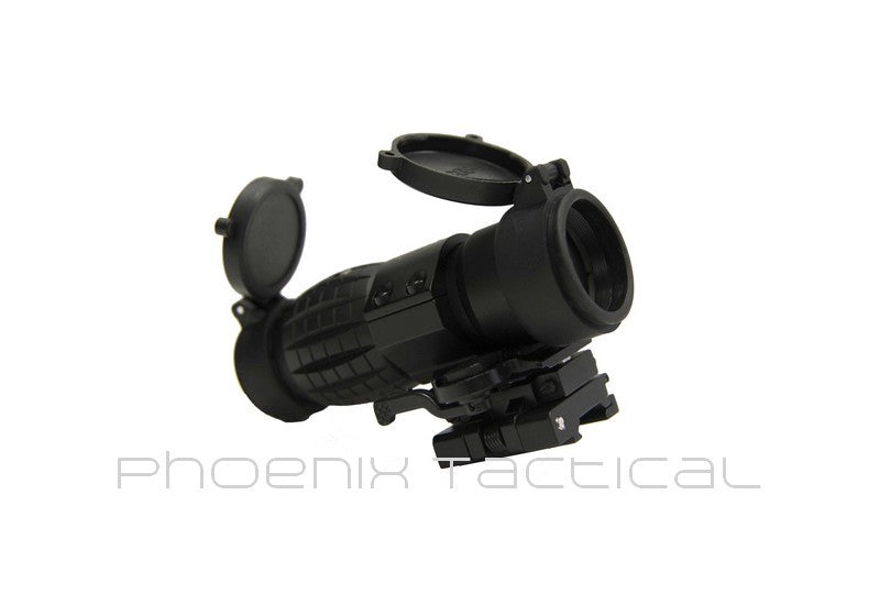 3X Magnifier W/ Push Button FTS Mount (Black) - Phoenix Tactical
