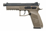 KJWorks CZ P-09 Gas Blowback Pistol ( Tan / Thread Barrel with Cap )