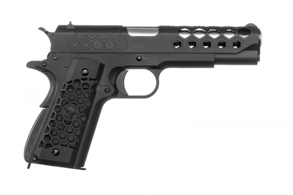 WE 1911 HEX Cut Gas Blowback Pistol ( Black )