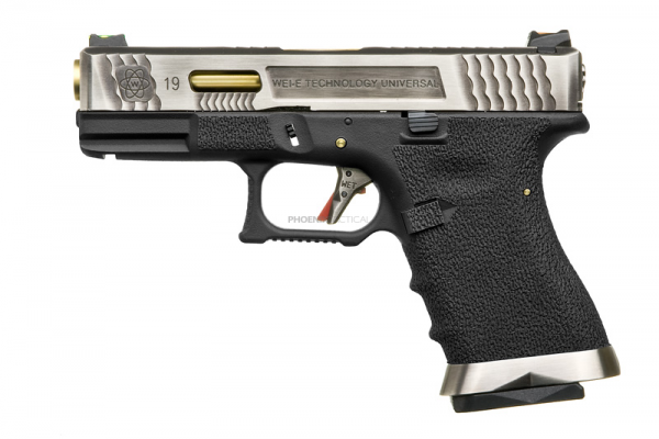 WE G-Force 19 T3 ( Silver Slide / Gold Barrel / Black Frame )