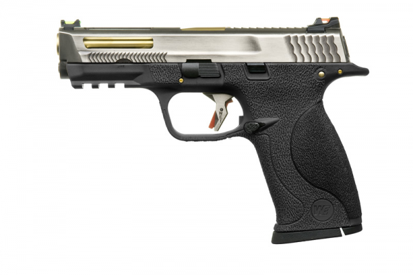 WE M&P9 T5B Gas Blowback Pistol ( Silver Slide / Gold Barrel / Black Frame )