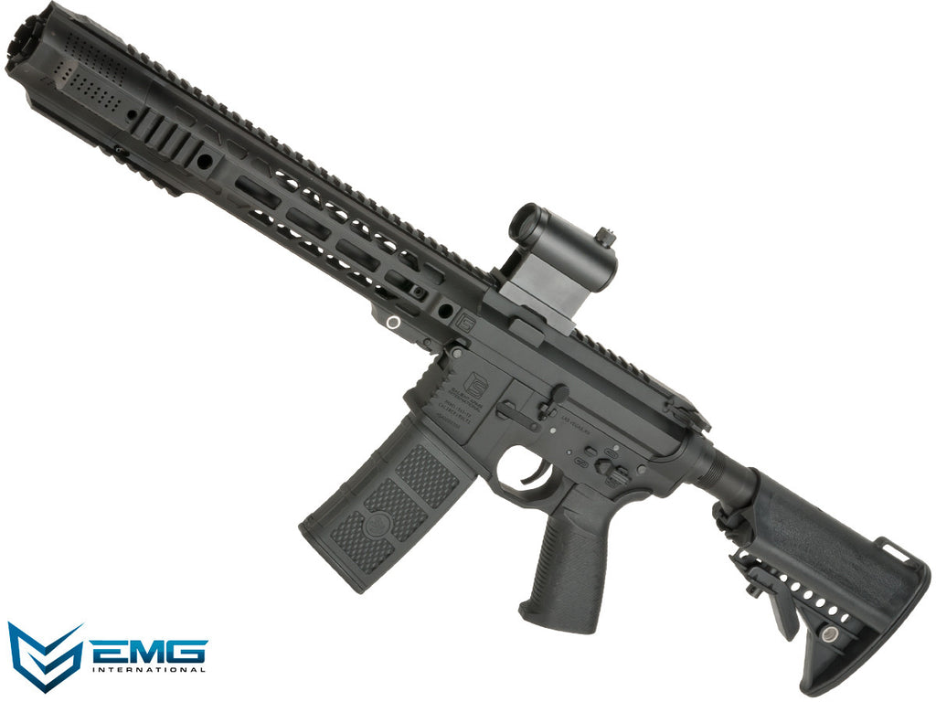 EMG SAI Licensed AR-15 SBR GRY M4 Airsoft AEG Training Rifle with Jailbreak Muzzle Device and Red Dot