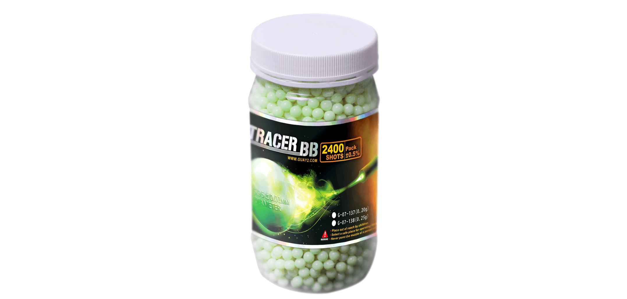 G&G 0.25g High Grade Tracer BB (2400 rounds) (green) - Phoenix Tactical