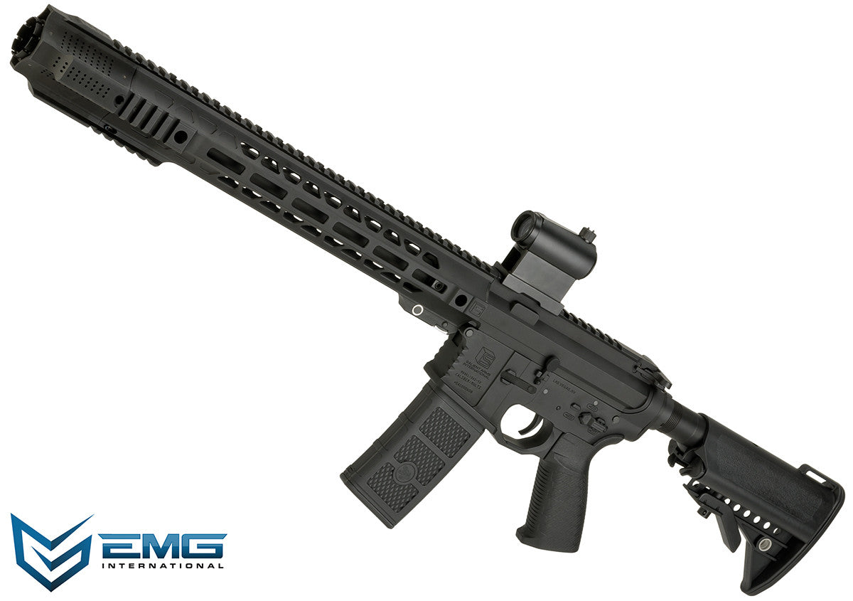 EMG SAI Licensed AR-15 GRY M4 Airsoft AEG Training Rifle with Jailbreak Muzzle Device and Red Dot - Phoenix Tactical