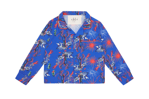 Vild Lab No.8 - Rare Living Lobsters, Organic Cotton Woven Collared Shirt