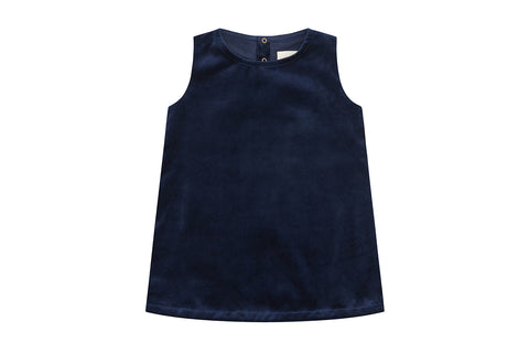 Organic Cotton Velvet Dress, Navy Blue