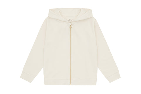 Organic Cotton Zip Up Hoodie, Ecru - Undyed