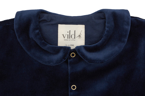 Organic Cotton Velvet Jacket, Navy Blue