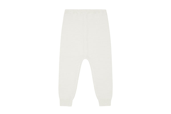 Ecru Organic Cotton Knit Trousers