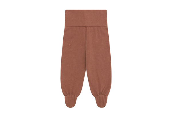 Organic Cotton Leggings with Feet, Natural Clay Pink - Beetroot Dye