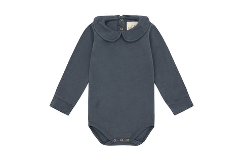 Natural Stone Blue - Palmetto Dye, Organic Cotton Collared Bodysuit