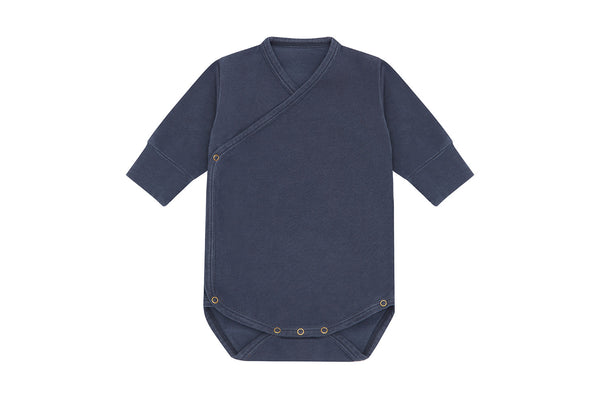 Organic Cotton Kimono Bodysuit, Natural Stone Blue - Palmetto Dye