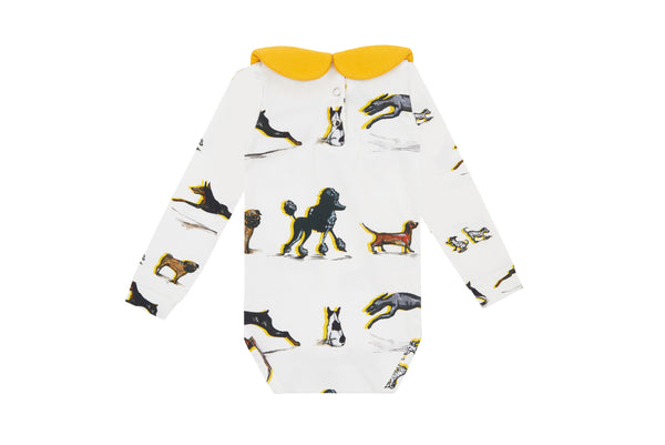Vild Lab No.9 - Dog Family, Organic Cotton Collared Bodysuit