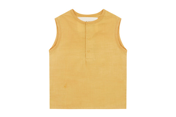 Natural Meyna Laxiflora Plant Dye, Organic Cotton Woven Sleeveless Top