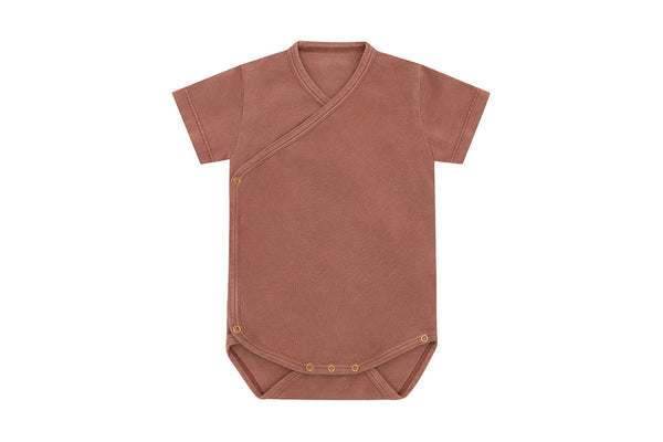 Organic Cotton Kimono Bodysuit, Natural Clay Pink - Beetroot Dye