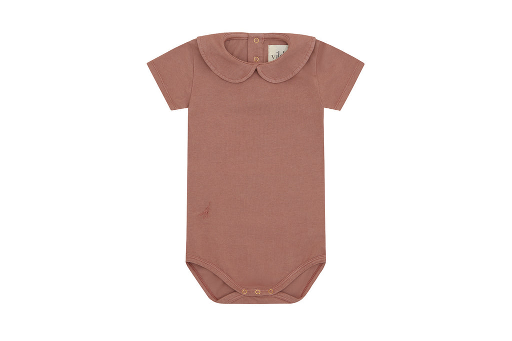 Organic Cotton Collared Bodysuit, Natural Clay Pink - Beetroot Dye