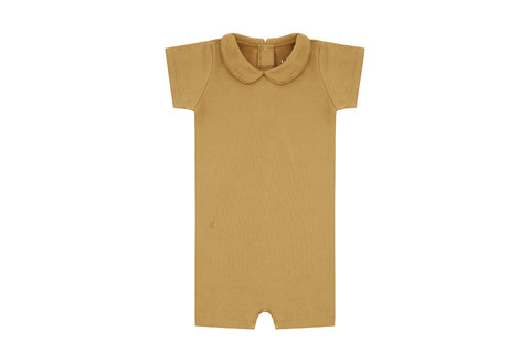Clever Camel, Organic Cotton Collared Bodysuit with Shorts