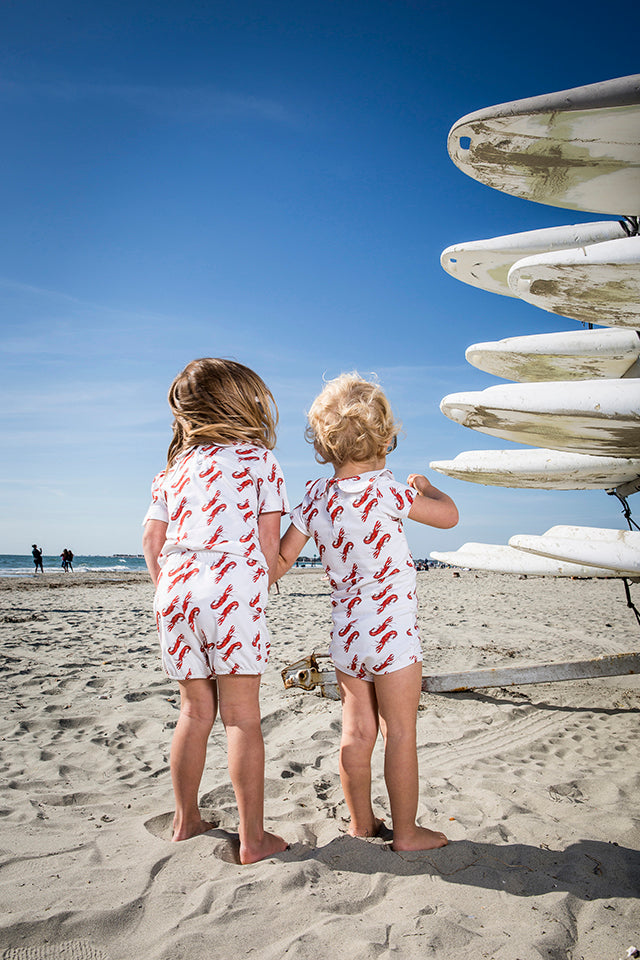 Vild Lab No.8 - Rare Living Lobsters, Organic Cotton Bodysuit with Shorts