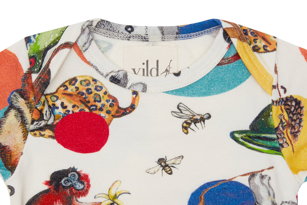 Vild Lab No.11 - Precious Wildlife Print, Organic Cotton Bodysuit